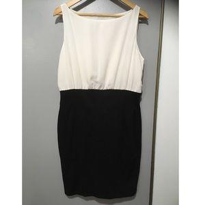 LOFT black and white midi dress